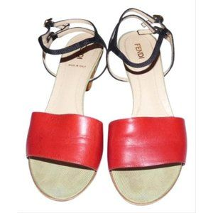 FENDI Red Black Pale Green Leather with Cork Heels